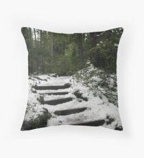 Sahalie's Snowy Steps Throw Pillow