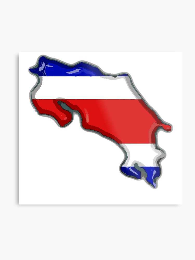 photograph about Printable Map of Costa Rica called Costa Rica Map With Costa Rican Flag Metallic Print