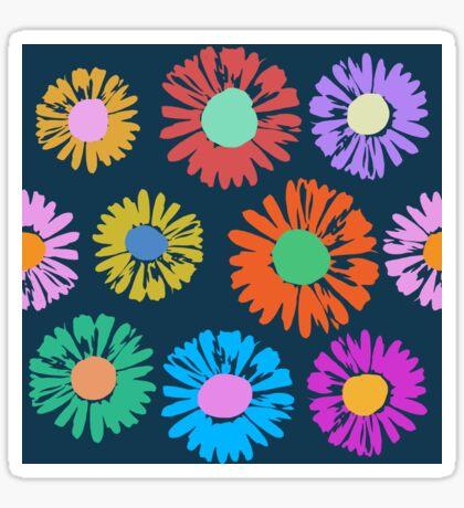 Pop Art Flowers on Blue Glossy Sticker