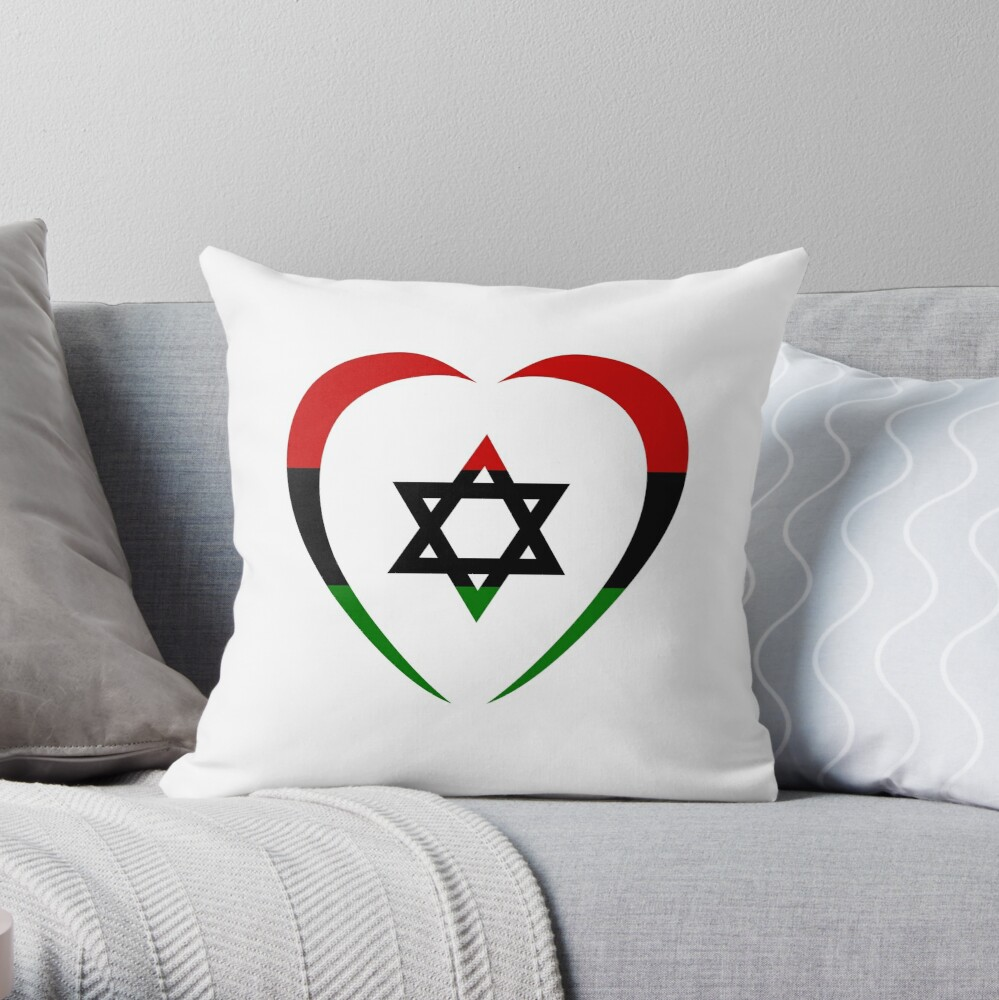 Jewish Heart Third Culture Series (Red, Black, Green)  Throw Pillow