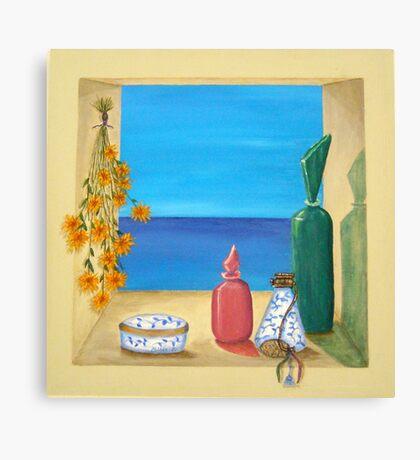 Ocean View & Perfume Bottles Canvas Print
