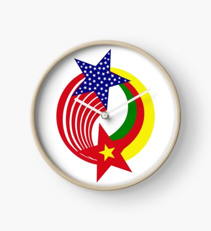 Cameroon American Multinational Patriot Flag Series Clock