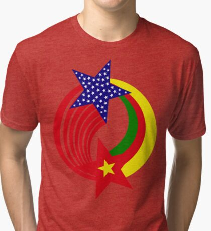 Cameroon American Multinational Patriot Flag Series Tri-blend T-Shirt
