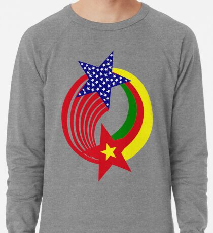 Cameroon American Multinational Patriot Flag Series Lightweight Sweatshirt