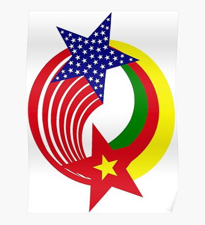 Cameroon American Multinational Patriot Flag Series Poster