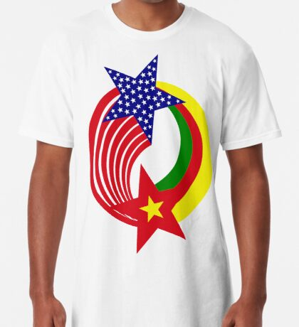 Cameroon American Multinational Patriot Flag Series Long T-Shirt