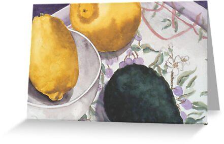 Lemon and Avocado Still Life by cszuger