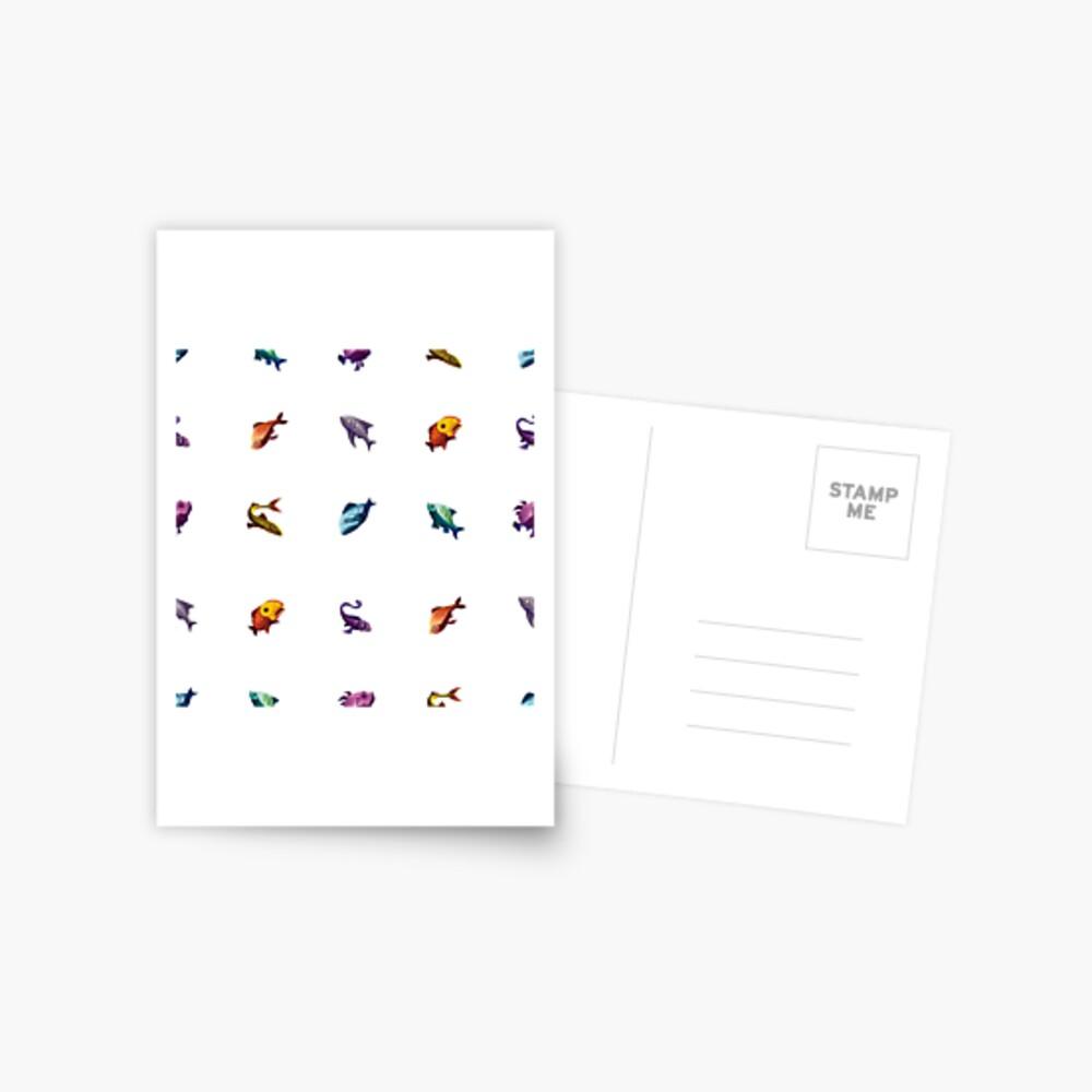 Muchos peces (blanco) Postal