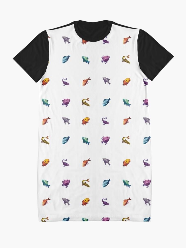 Vista alternativa de Vestido camiseta Muchos peces (blanco)