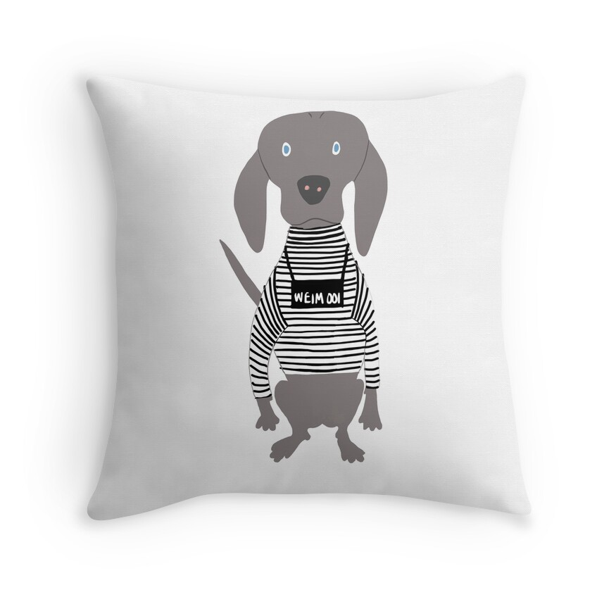 Weim Jailbird Grey Ghost Weimaraner Dog Hand-painted Pet Drawing