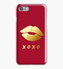 XOXO Hugs Kisses and Gold Lips (Hot Red) iPhone Case/Skin