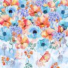 Fallende Blumenaquarellblumenkunst des Sommer-Ansturms von Glimmersmith