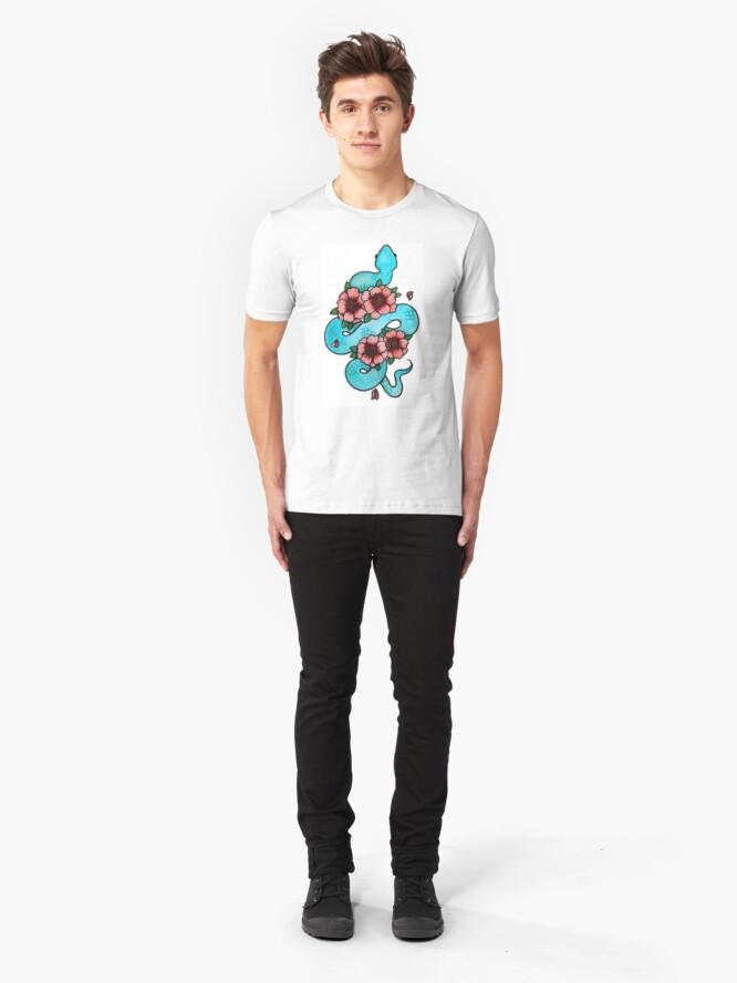 Alternate view of Blue White Lipped Viper Slim Fit T-Shirt