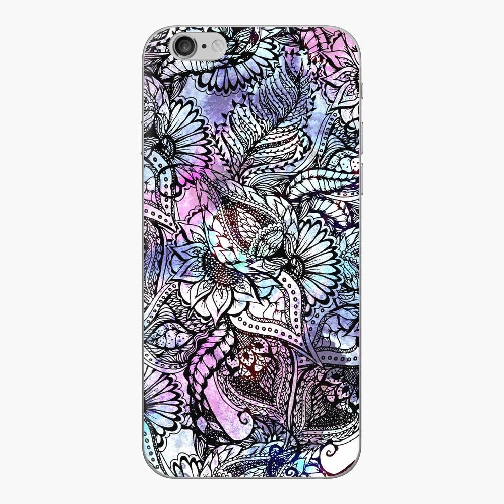 Gezeichnetes Muster des purpurroten blauen Aquarells Hand iPhone Klebefolie