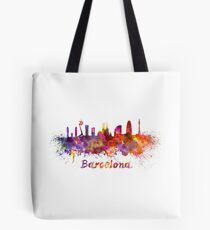 Barcelona skyline in watercolor Tote Bag