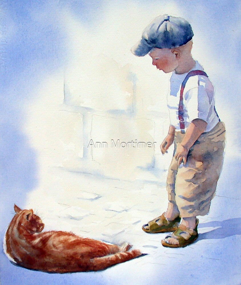 Small Boy and Cat by Ann Mortimer