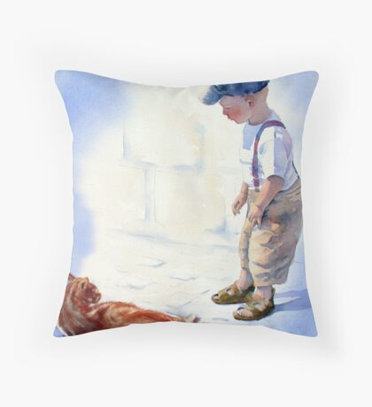 Small Boy and Cat Throw Pillow