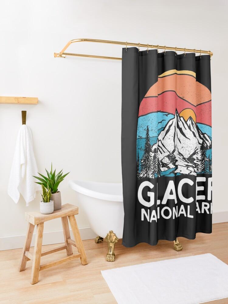 Alternate view of Vintage Glacier National Park Retro 80s Montana Mountain Shower Curtain