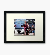 Three persons, one dog Framed Print