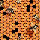 «Abejas acuarelas arrastrándose en nido de abeja» de Ekaterina Glazkova