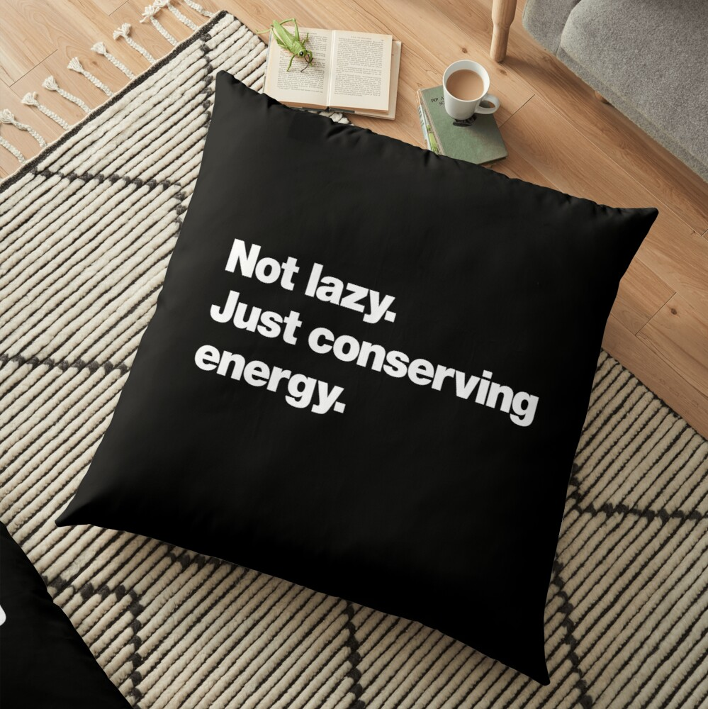 Not lazy. Just conserving energy. Floor Pillow