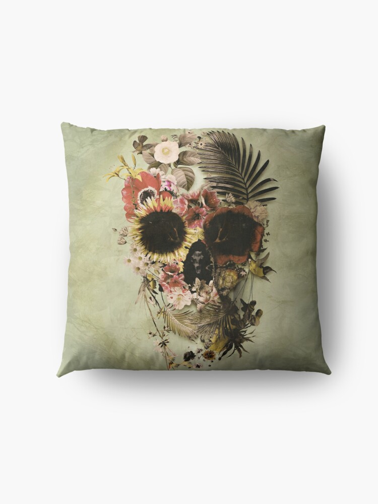 Alternate view of Garden Skull Light Floor Pillow
