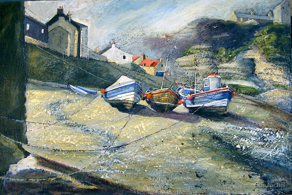 Cobles in the Beck, Staithes by Sue Nichol