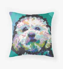Poodle Maltipoo Dog Bright colorful pop dog art Throw Pillow