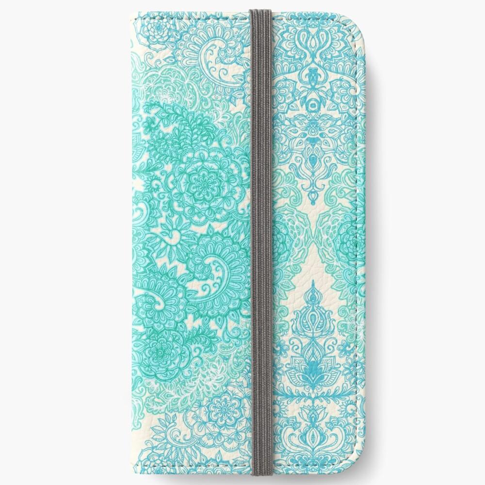 Happy Place Doodle in Mint Green & Aqua iPhone Wallet