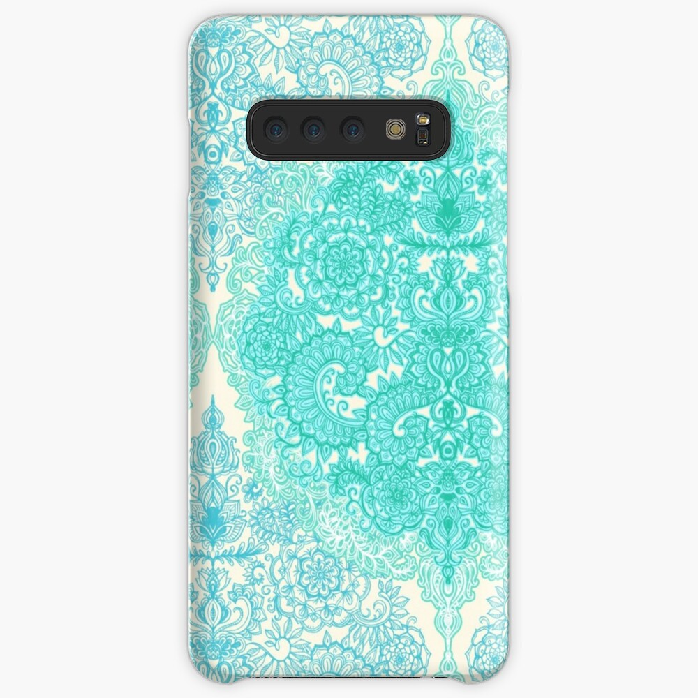 Happy Place Doodle in Mint Green & Aqua Case & Skin for Samsung Galaxy