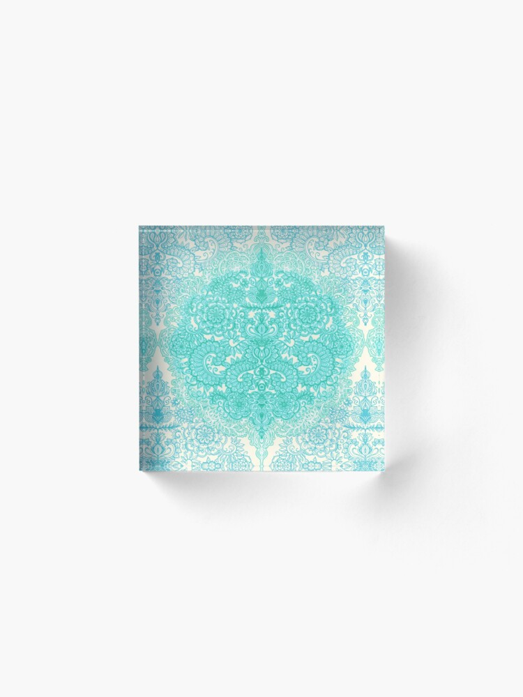Alternate view of Happy Place Doodle in Mint Green & Aqua Acrylic Block