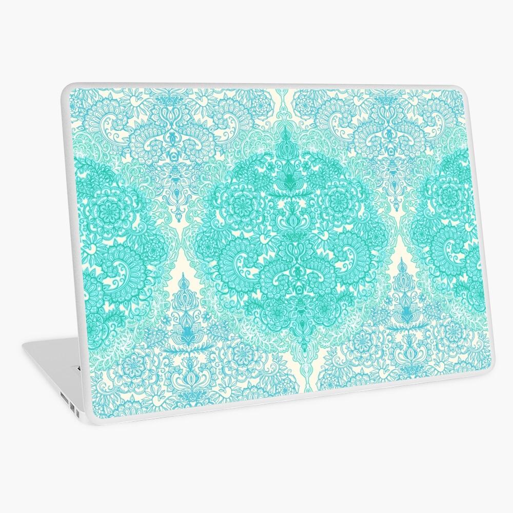 Happy Place Doodle in Mint Green & Aqua Laptop Skin