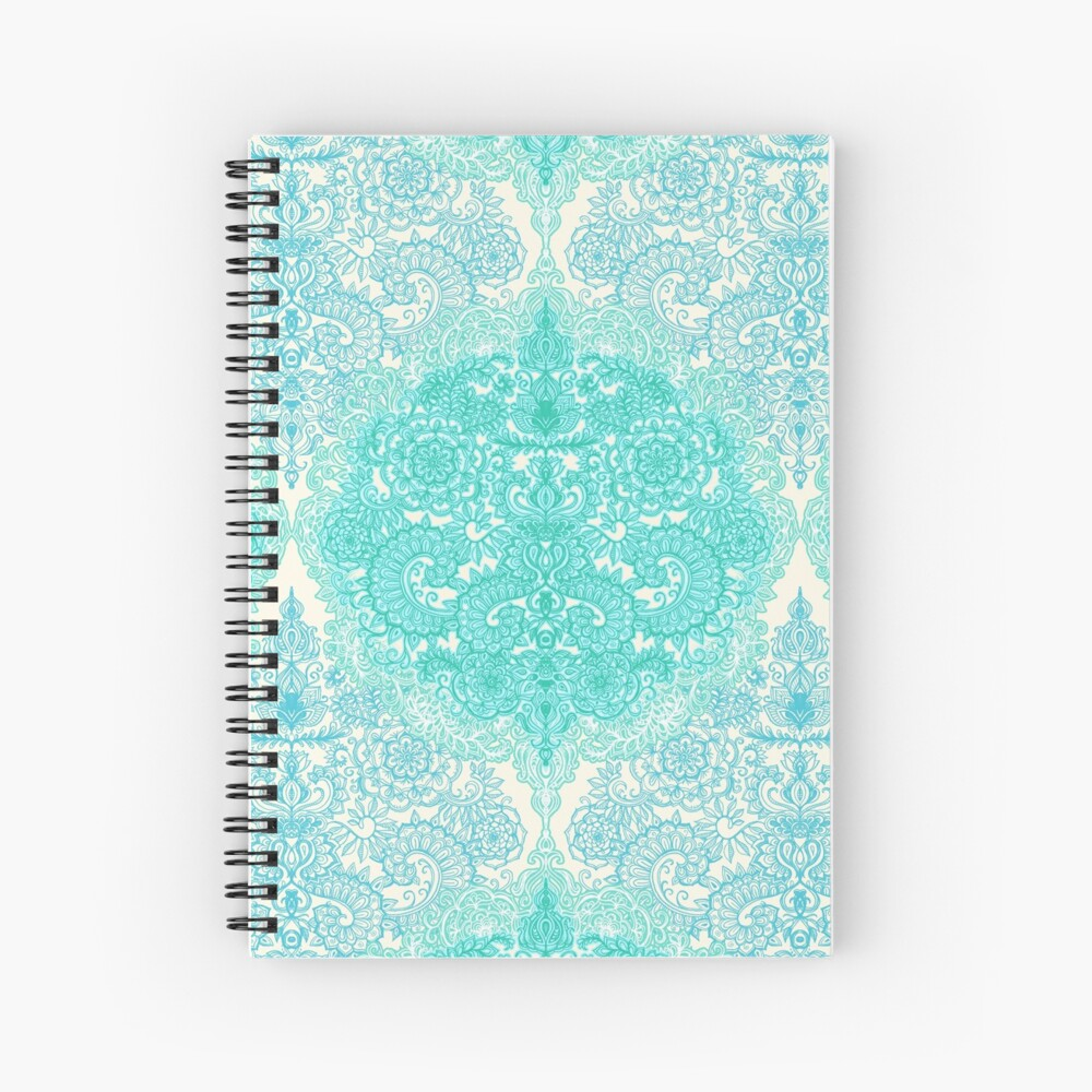 Happy Place Doodle in Mint Green & Aqua Spiral Notebook