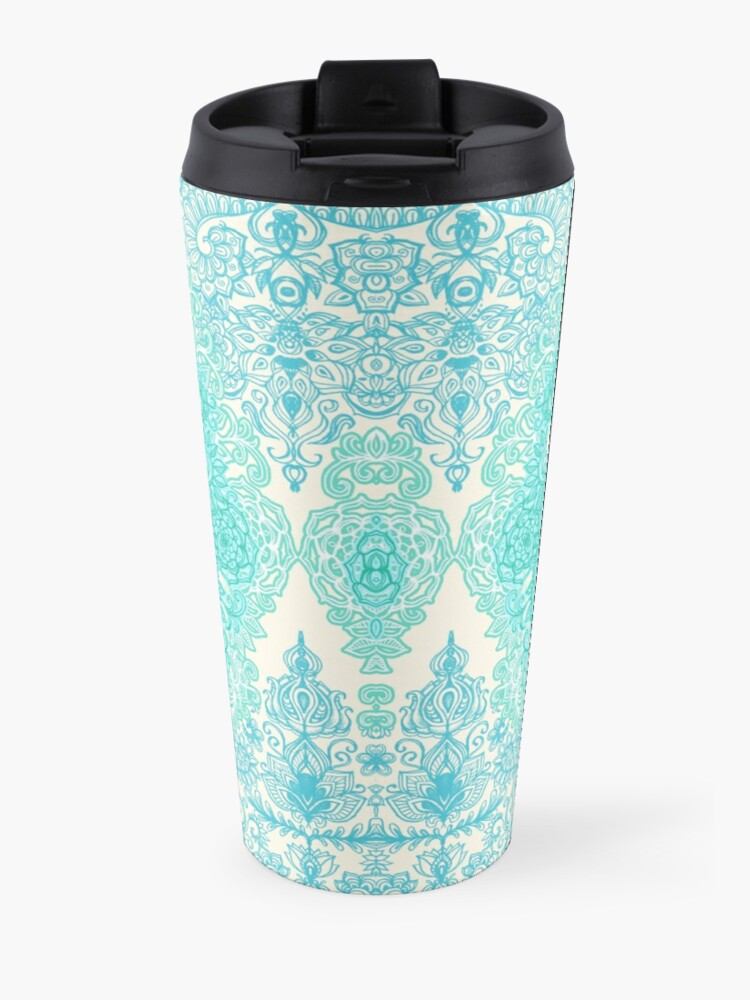 Alternate view of Happy Place Doodle in Mint Green & Aqua Travel Mug