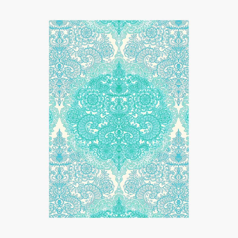 Happy Place Doodle in Mint Green & Aqua Photographic Print