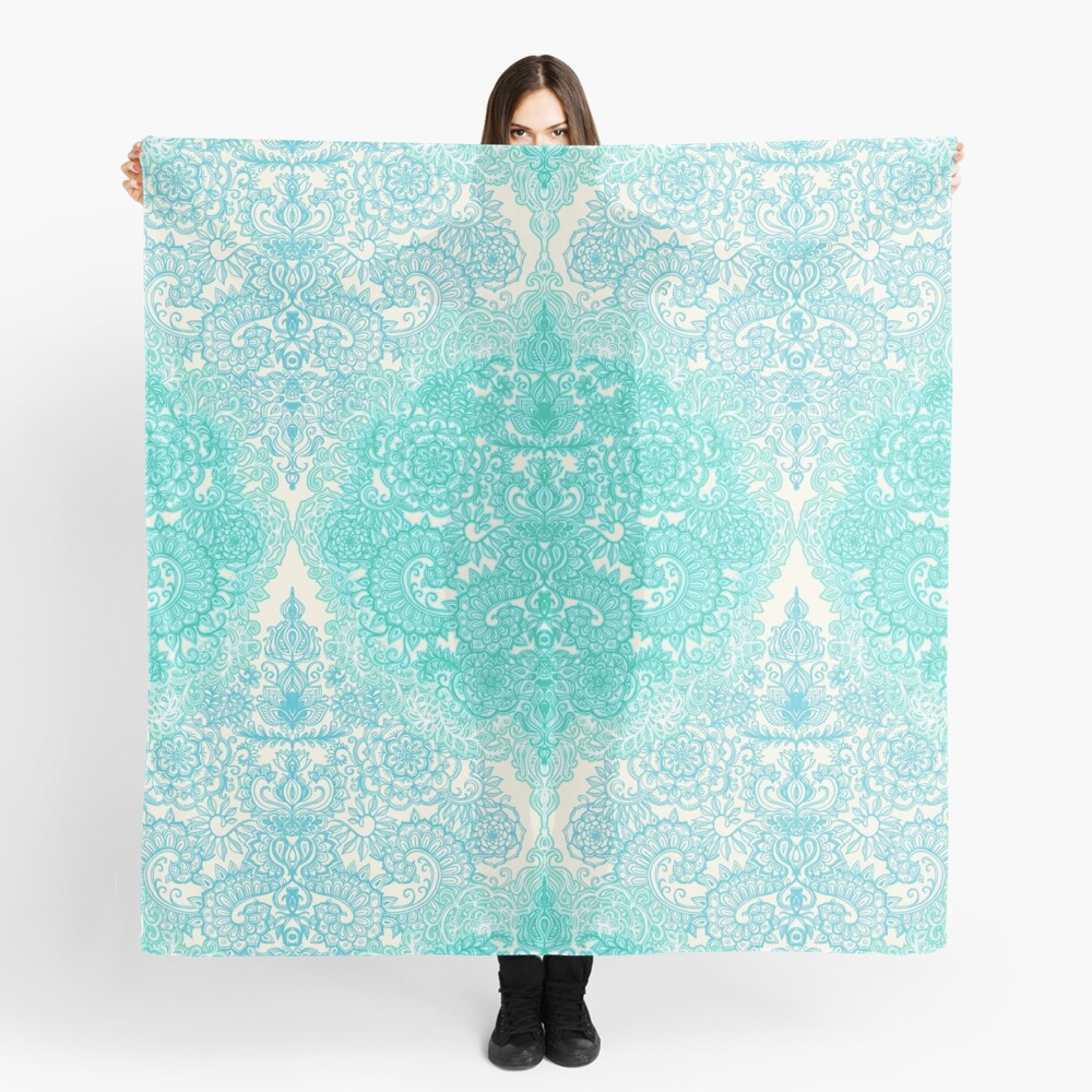 Happy Place Doodle in Mint Green & Aqua Scarf