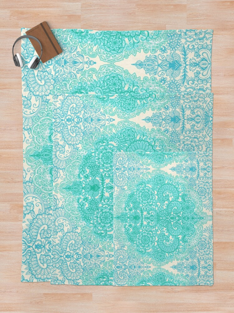 Alternate view of Happy Place Doodle in Mint Green & Aqua Throw Blanket