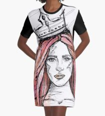 LADY Queen Mermaid Sketch watercolor T-Shirt Kleid