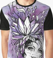 Girl Boho Aquarell Watercolor Sketch Purple Grafik T-Shirt