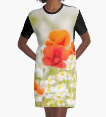 Poppy in the Field of Daisies Graphic T-Shirt Dress