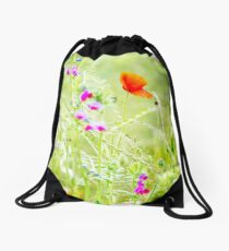 Poppies and Sweet Peas Drawstring Bag
