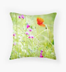 Poppies and Sweet Peas Throw Pillow