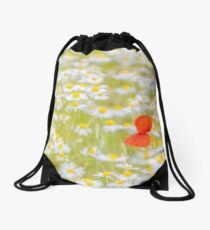 Field of Daisies and the Lonely Poppy Drawstring Bag