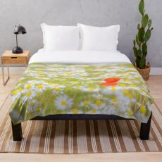 Field of Daisies and the Lonely Poppy Throw Blanket