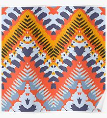 Bohemian print with chevron pattern in natural warm colors Poster