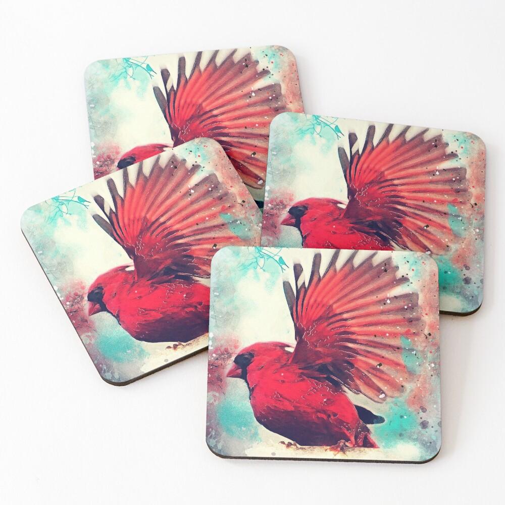 Red bird #bird #birds Coasters (Set of 4)