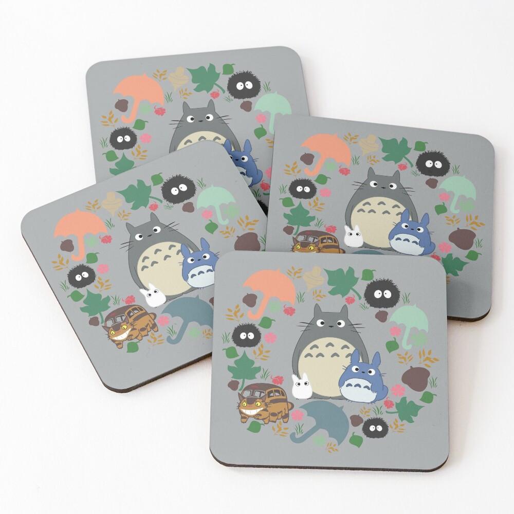 Mein Nachbar Totoro Kranz - Anime, Catbus, Ruß Sprite, Blau Totoro, Weiß Totoro, Senf, Ocker, Regenschirm, Manga, Hayao Miyazaki, Studio Ghibl Untersetzer (4er Set)