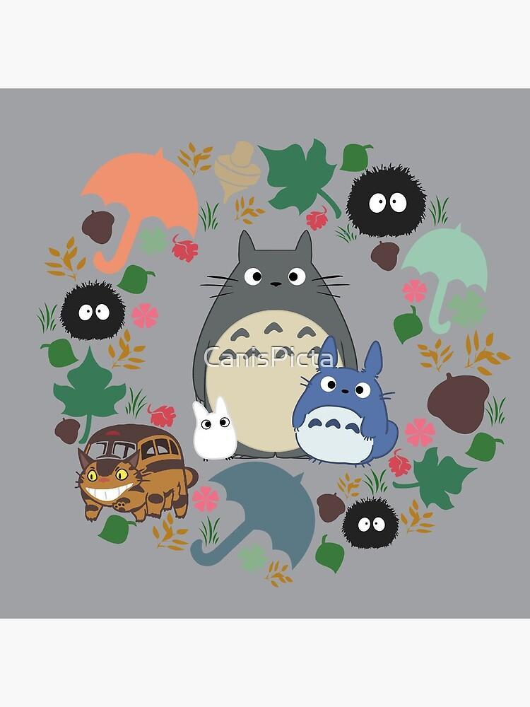 Mein Nachbar Totoro Kranz - Anime, Catbus, Ruß Sprite, Blau Totoro, Weiß Totoro, Senf, Ocker, Regenschirm, Manga, Hayao Miyazaki, Studio Ghibl von CanisPicta