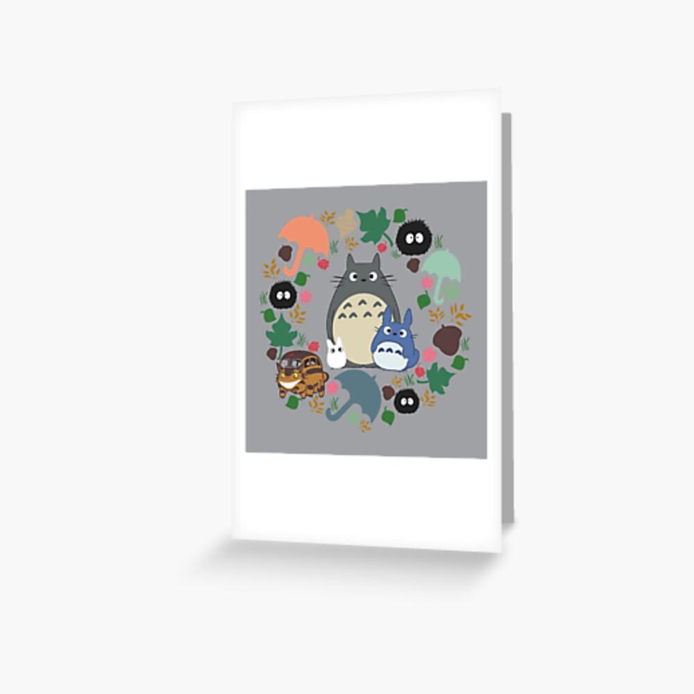 Mein Nachbar Totoro Kranz - Anime, Catbus, Ruß Sprite, Blau Totoro, Weiß Totoro, Senf, Ocker, Regenschirm, Manga, Hayao Miyazaki, Studio Ghibl Grußkarte