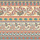 Dekoratives nahtloses Muster von Grenzen mit Blumen, Blättern und abstrakten Mustern. Indischer Stil. Kalamkari. von Skaska